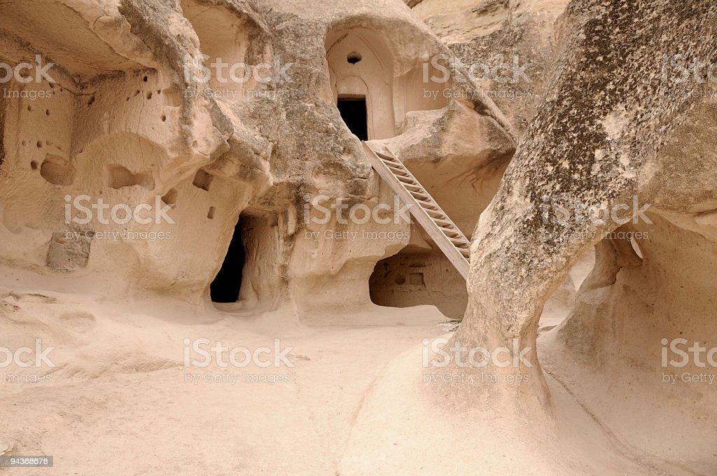 Houses and Churces in Pasa Baglari, Cappadocia, Nevsehir, Turkey royalty-free stock photo