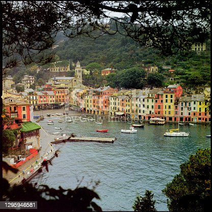 Houses and harbour of Portofino. Ligury. Italy. Medium format film.