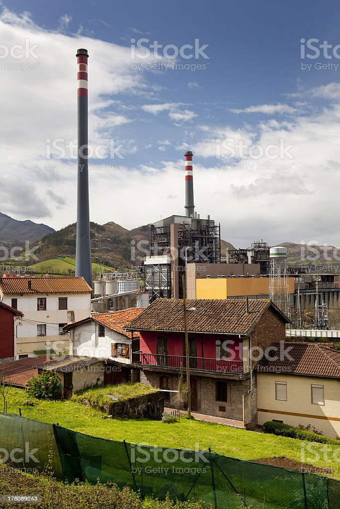 Houses and power plant. stock photo