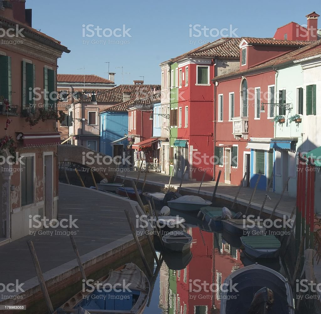 Houses and reflections. Burano royalty-free stock photo