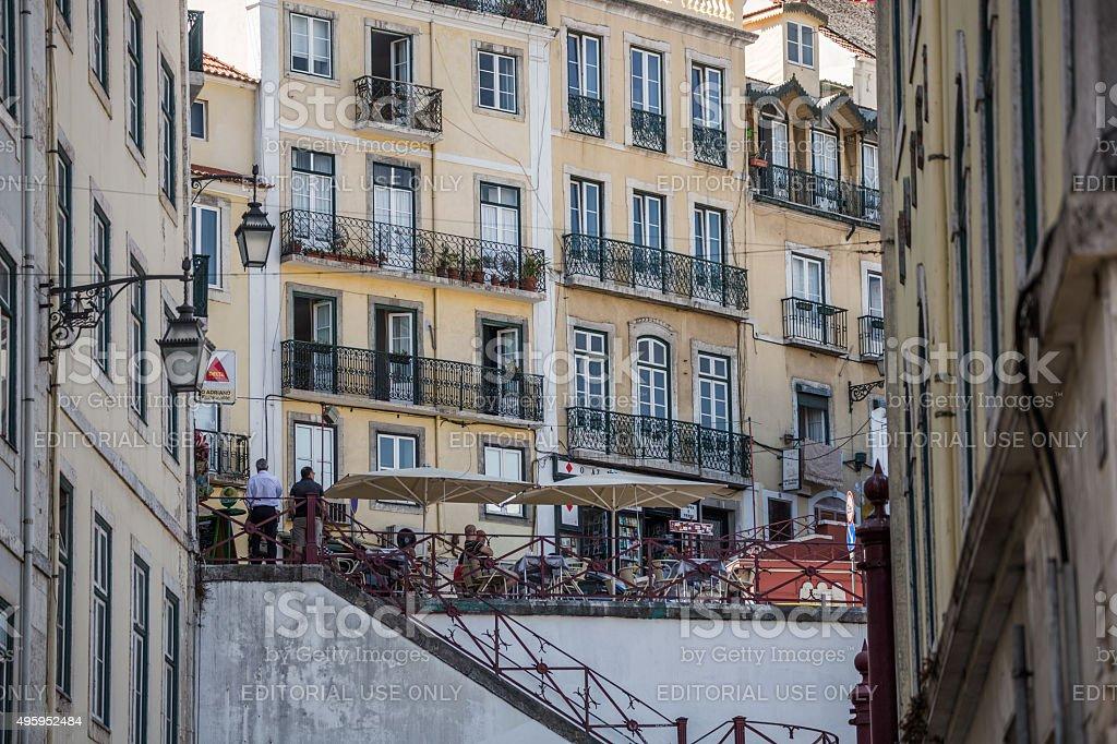 Houses and restaurants in Bairro Alto, Lisbon, Portugal stock photo