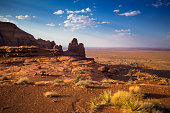 istock Houses and Rock Formations of Oljato-Monument Valley in Sunlight 1085468512