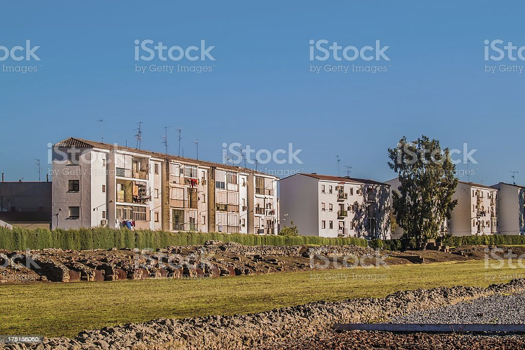 Houses and ruins in Merida stock photo
