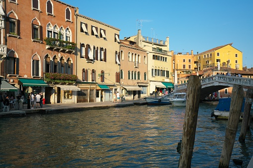 Houses and shops near Guglie bridge on Cannaregio canal, Venice