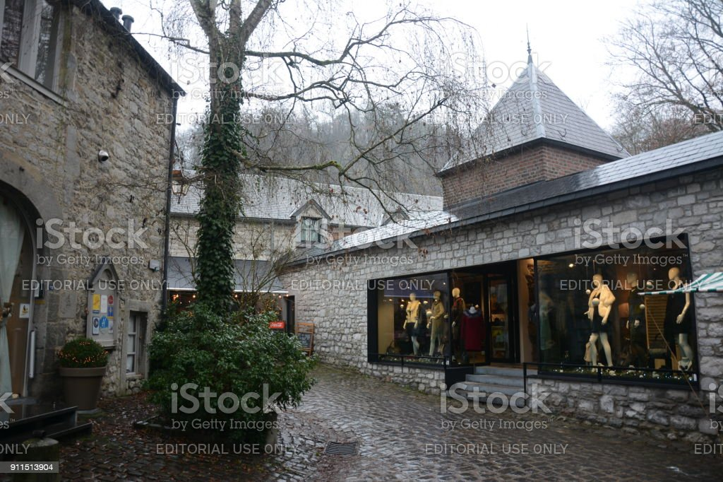Houses and stores at Durbuy stock photo