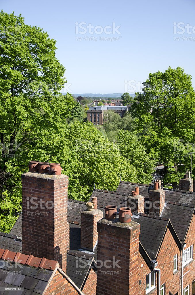 Houses and Trees Near River Dee in Chester royalty-free stock photo