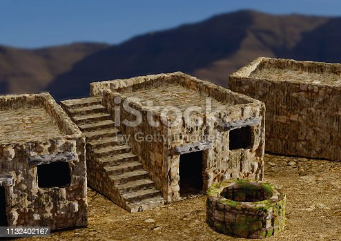 houses and villages typical of the ancient biblical times of Israel, Jerusalem, Nazareth, Galilee, and cities of Asia Minor. 3D illustration