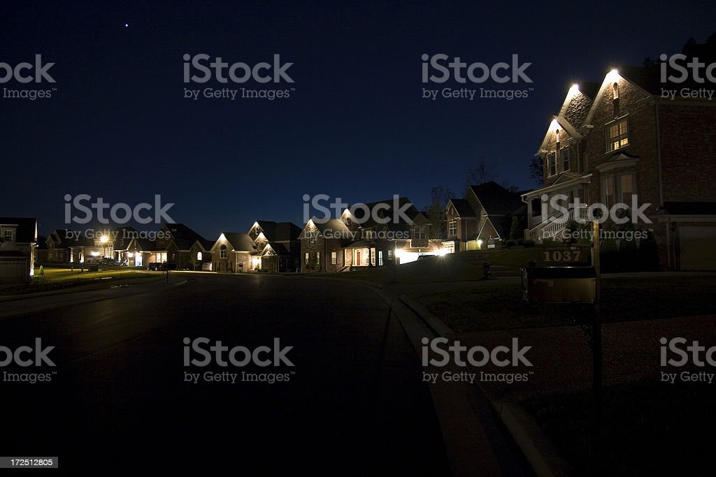 Houses at Night stock photo