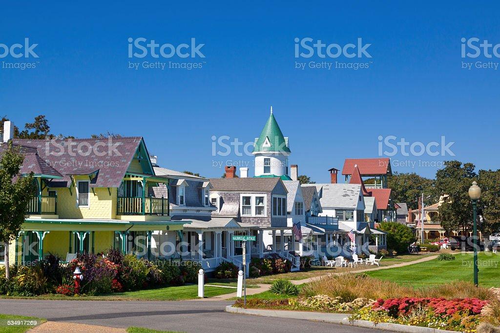 Houses at Ocean Park, Oak Bluffs, Martha's Vineyard, Massachusetts, USA. stock photo