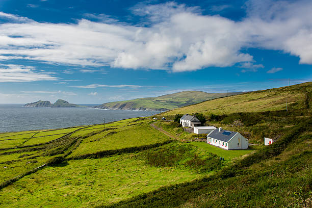 Houses at the Coast of Ireland stock photo
