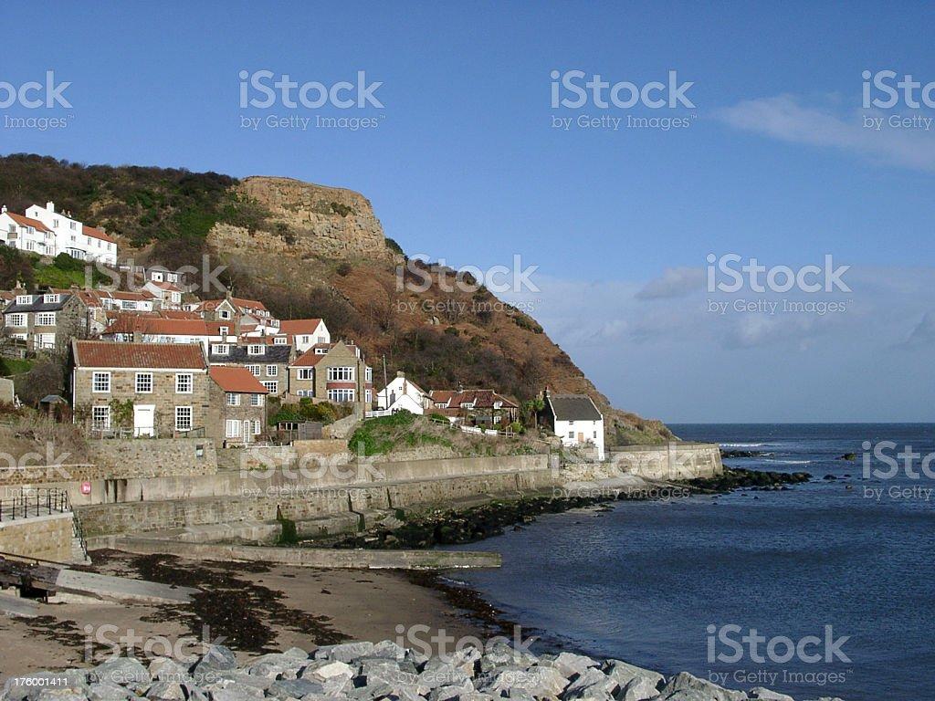 houses beside the sea, Runswick Bay, Yorkshire, England royalty-free stock photo