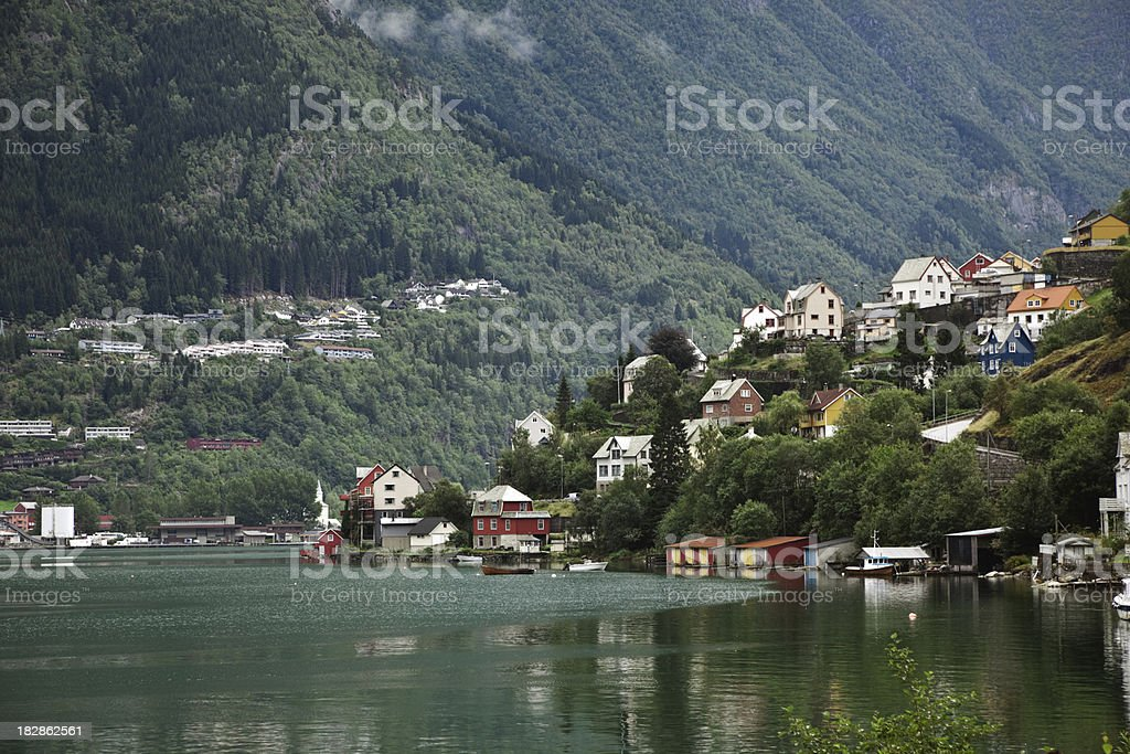 Houses  by the fjord. royalty-free stock photo