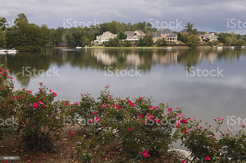 Houses by the lake stock photo