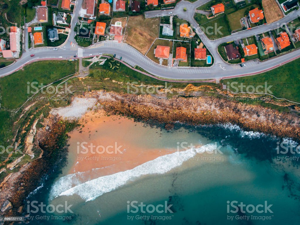 Houses by the ocean stock photo