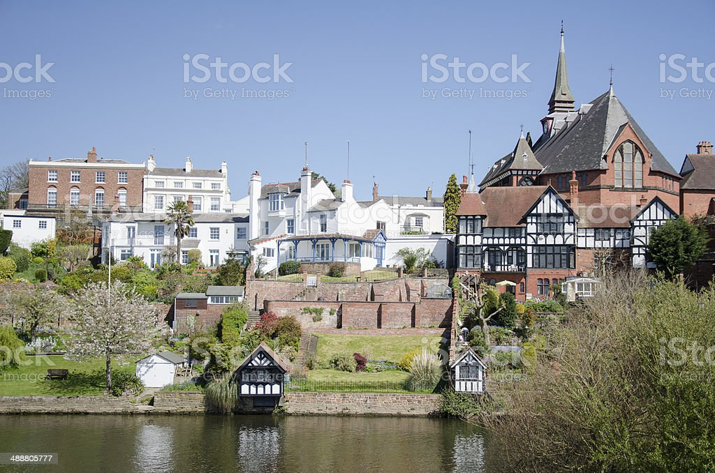 Houses by the River Dee in Chester stock photo