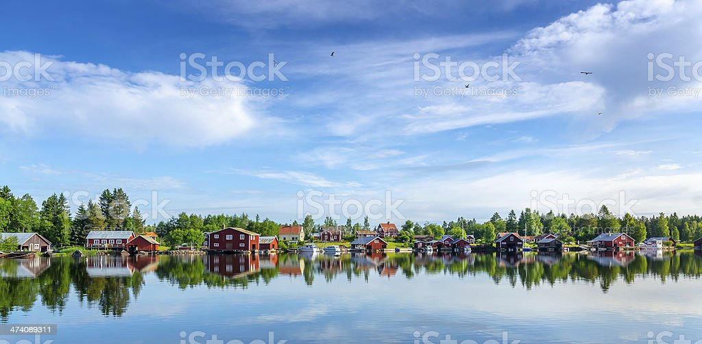 Houses by the sea stock photo