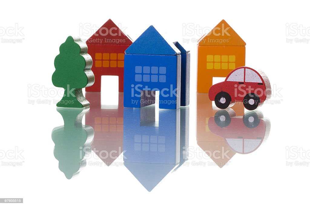 Houses, car and tree royalty-free stock photo