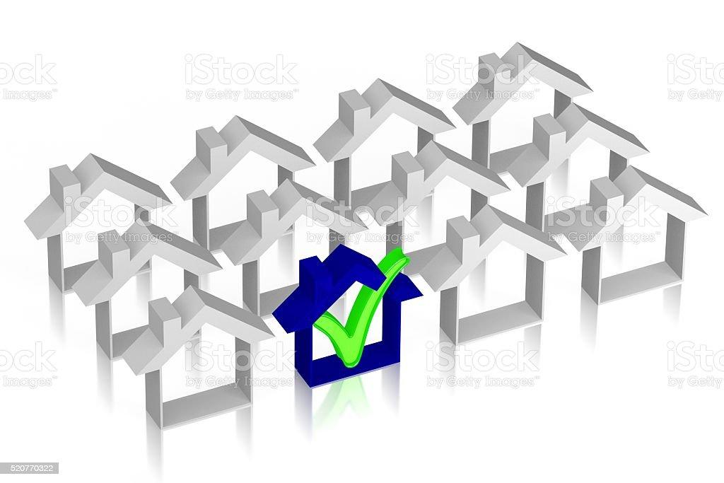3D houses concept stock photo