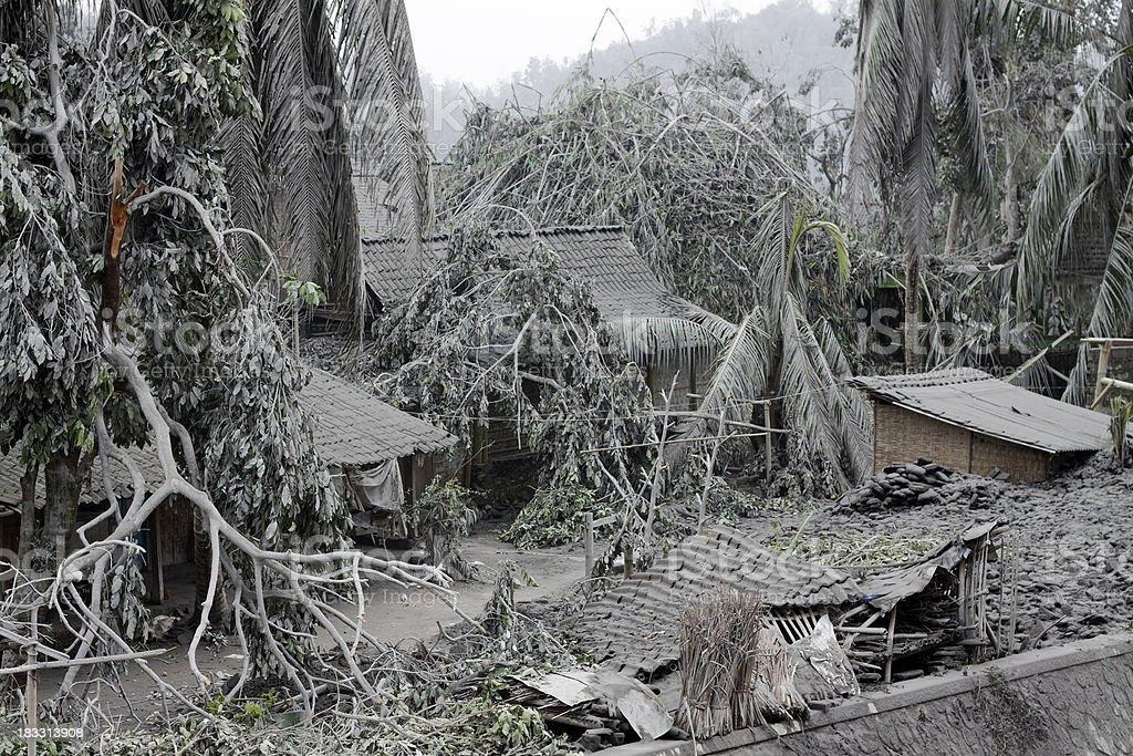 Houses covered in volcanic debris, Mt. Merapi, Indonesia stock photo