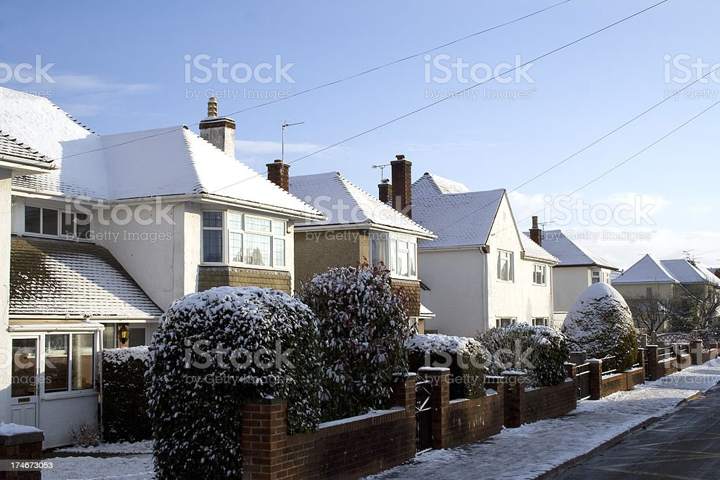 Houses Covered with Snow royalty-free stock photo