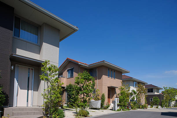Houses emerging residential area Houses emerging residential area near Tokyo. detached house stock pictures, royalty-free photos & images