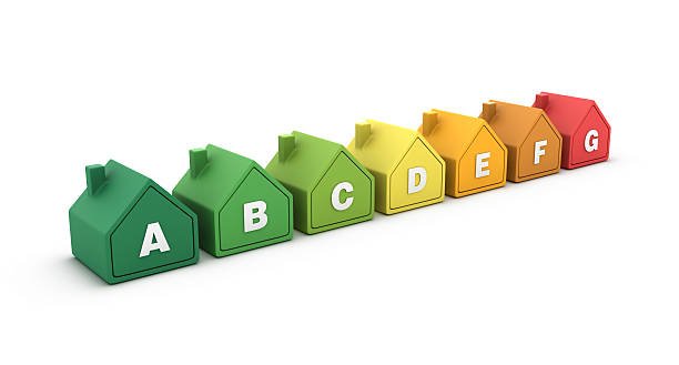 houses energy efficiency - energy performance certificate stock photos and pictures
