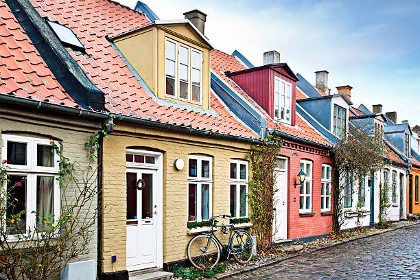 houses in aarhus - denmark stock photos and pictures