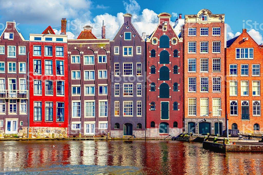 Houses in Amsterdam Houses in Amsterdam Amstel River Stock Photo