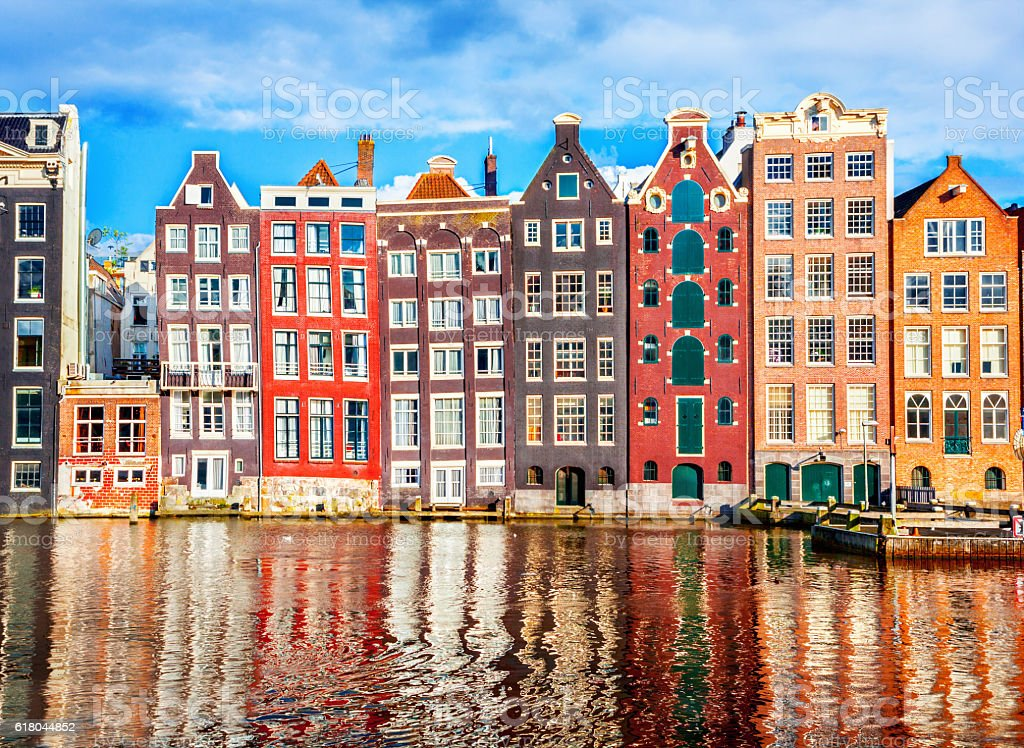 Houses in Amsterdam - Royalty-free Amstel River Stock Photo