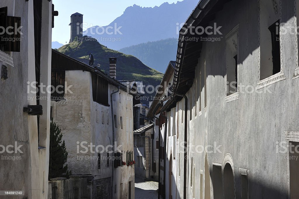 Houses in Ardez royalty-free stock photo