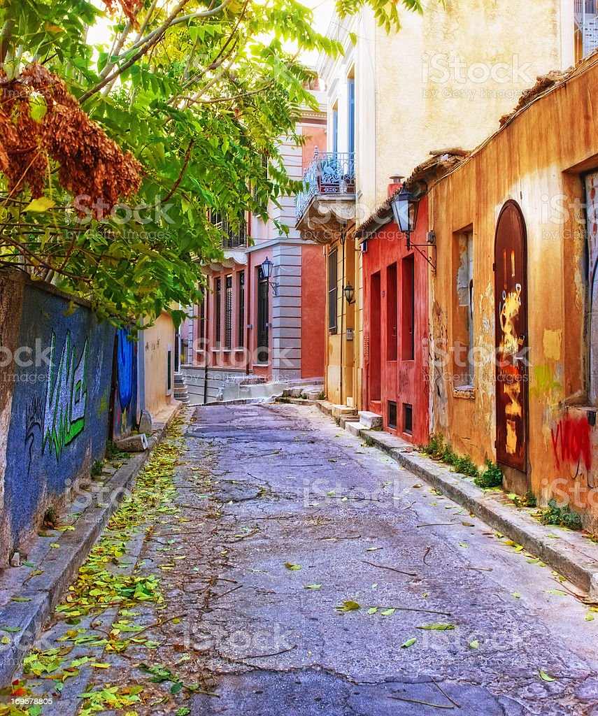 Houses in Athens, Greece stock photo