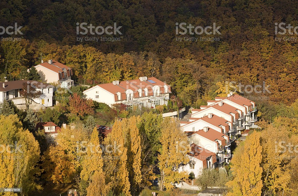 houses in autumn royalty-free stock photo