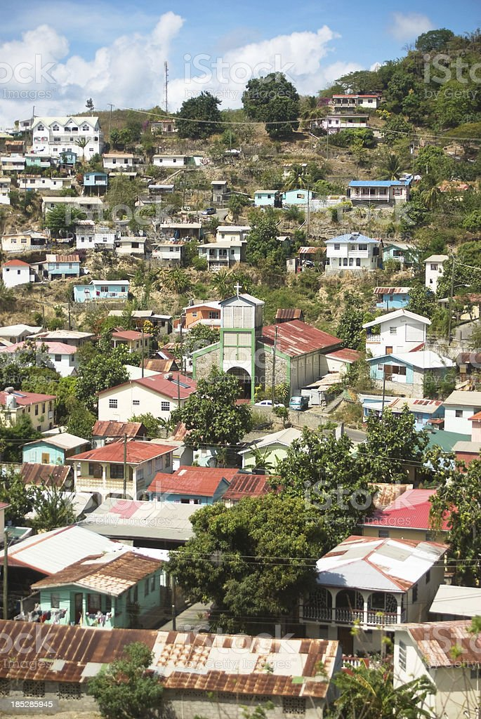 houses in Canaries village St Lucia stock photo