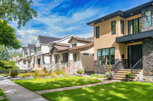 Stock photograph of houses in the Glenora neighbourhood of Edmonton Alberta Canada.
