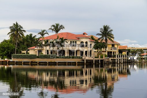 Houses in Florida reflecting on the water