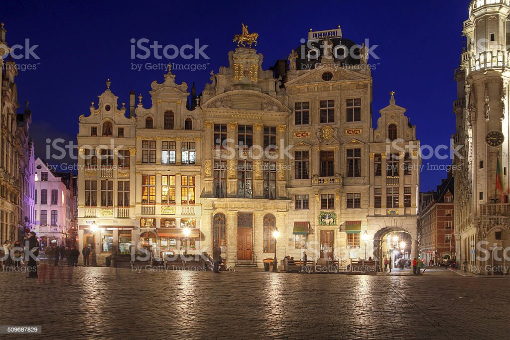 Houses in Grand Place, Brussels, Belgium stock photo