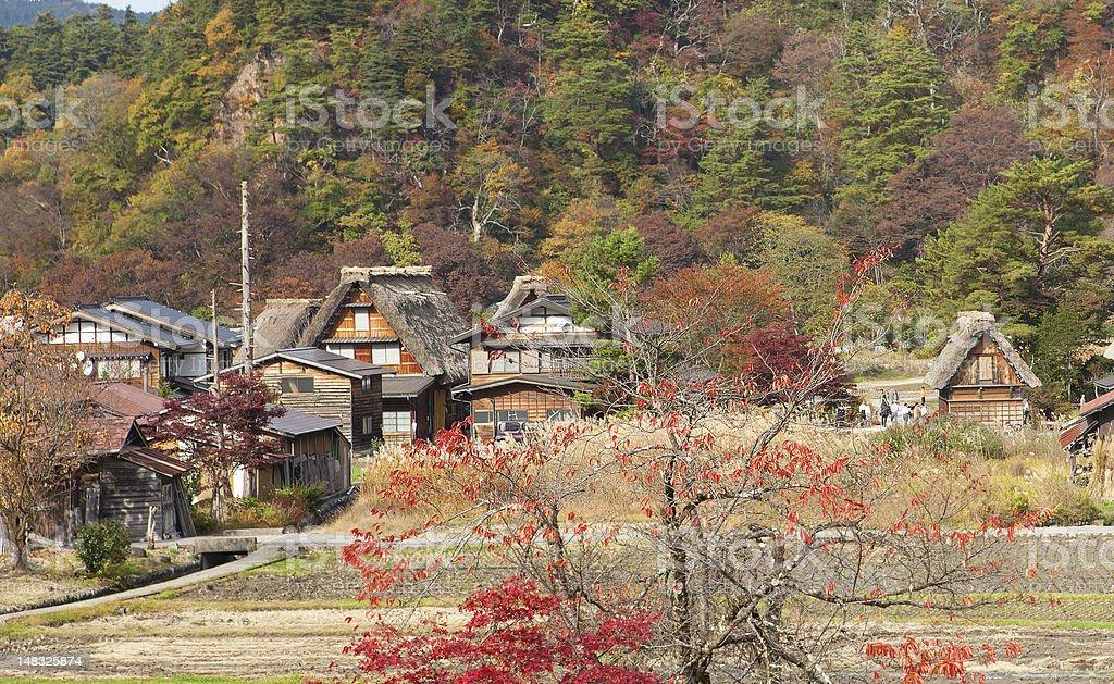 Houses in historic village Shirakawa-go, Gifu prefecture, Japan stock photo
