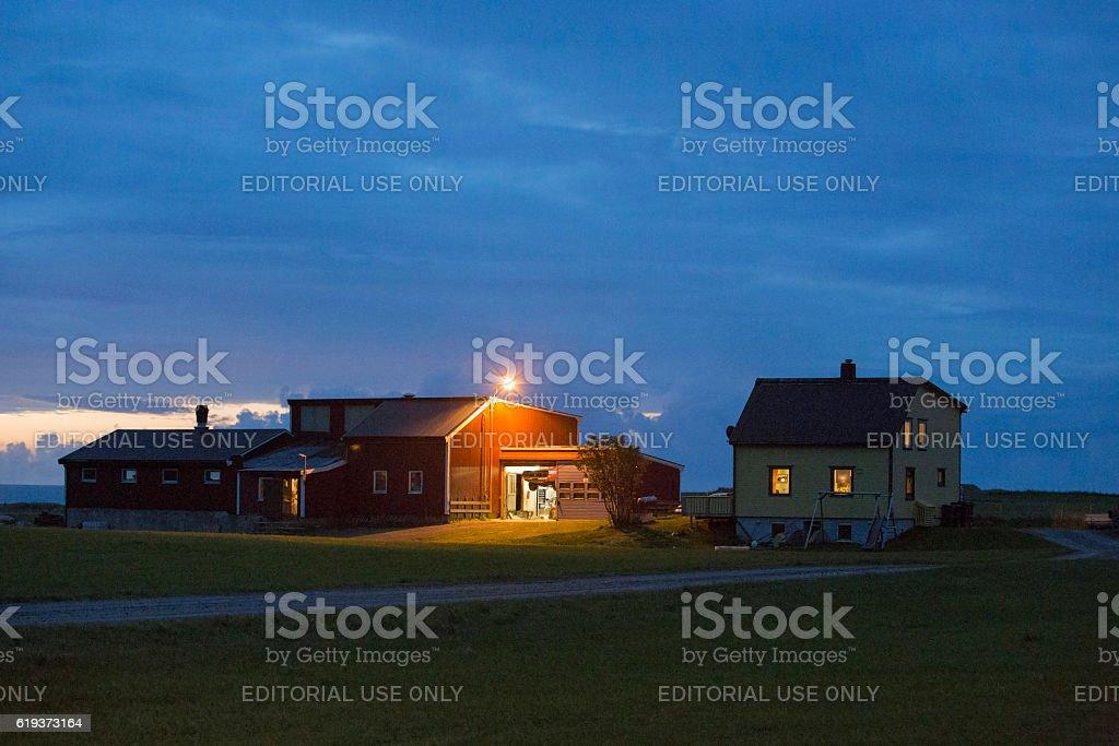 Houses in Lofoten, Norway stock photo