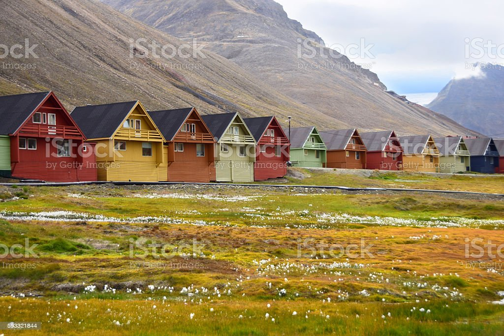 Houses in Longyearbyen in Svalbard Arctic Norway stock photo