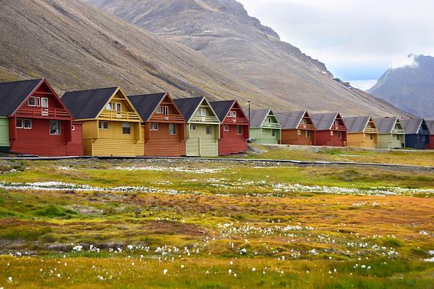 Houses in Longyearbyen in Svalbard Arctic Norway stock photo