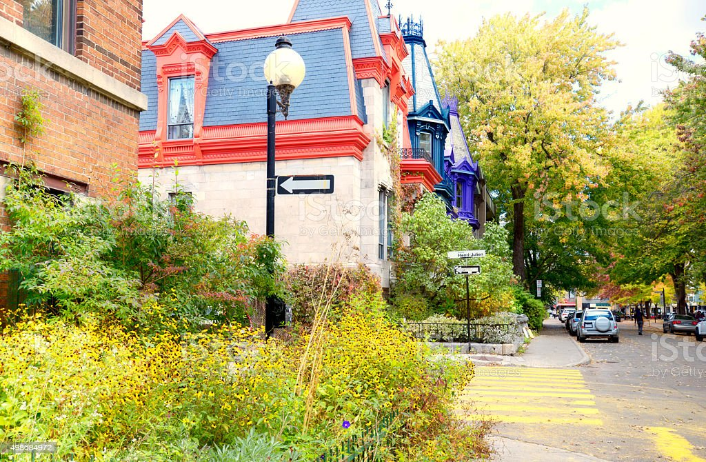 Houses in Montreal, Canada stock photo