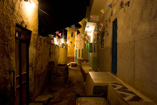 Houses in old town Aswan at night stock photo