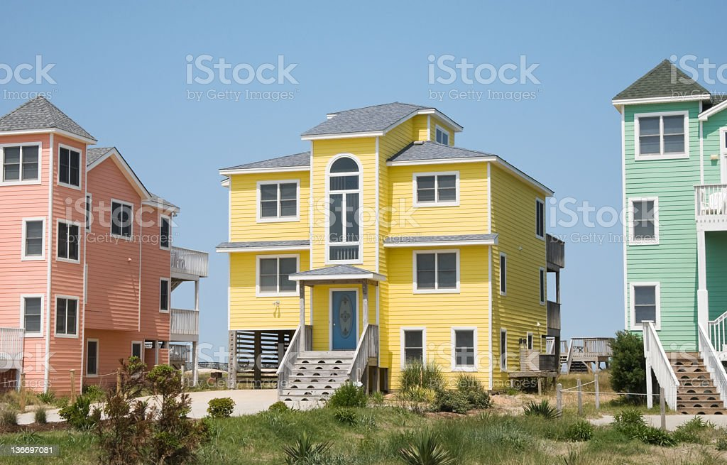 Houses In Pastel Colors at Summer Seaside Resort stock photo