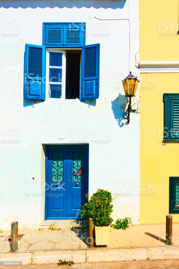 Houses in Plaka district in Athens stock photo