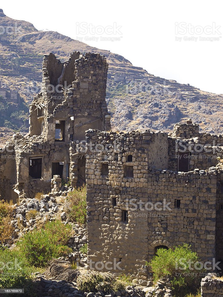 houses in ruins stock photo