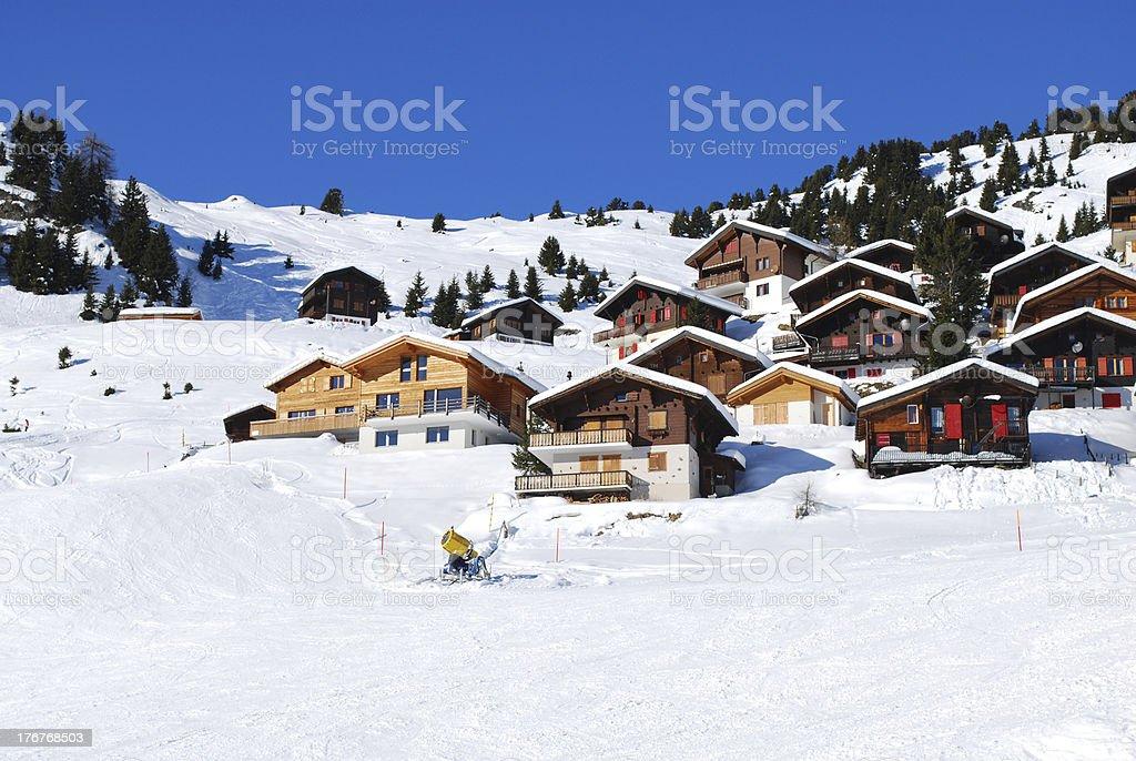 Houses in ski resort stock photo