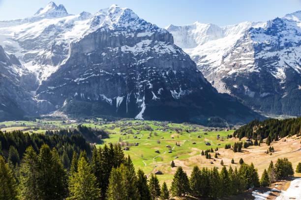 häuser in kleinen dorf und hotels am berg alpen auf grindelwald ersten höhepunkt der schweiz europa - hotel bern stock-fotos und bilder
