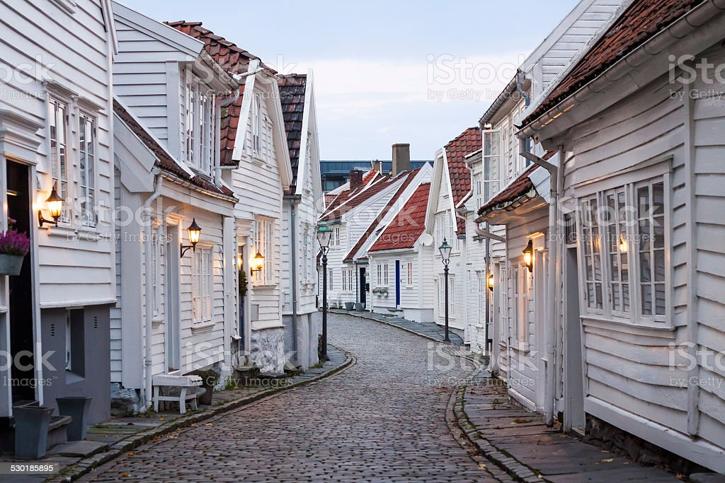 Houses in Stavanger stock photo