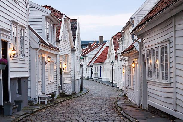 Houses in Stavanger stock photo