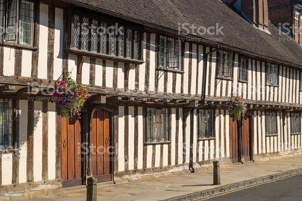 Houses in Stratford-upon-Avon, the birthplace in England of William Shakespeare stock photo